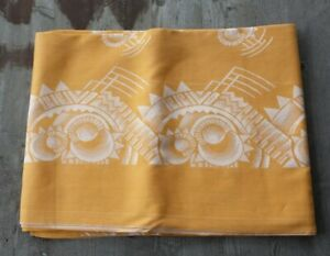 Stunning Vintage Belgian Art Deco Linen Tablecloth Orange With Metallic Silver