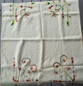 Antique 19th Century Embroidered Wool Blanket