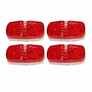 4x Red Trailer Side Marker Led Light Double Bullseye 10 Diodes Clearance Lamp