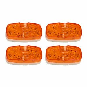 4x Amber Trailer Marker Led Lights Lamps Double Bullseye 10 Diodes Clearance