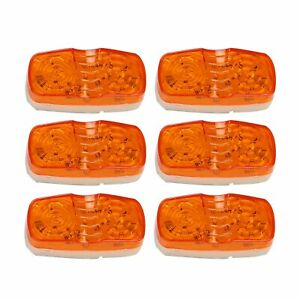 6x Amber Trailer Marker Led Lights Lamps Double Bullseye 10 Diodes Clearance
