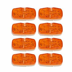 8x 10 Diodes Trailer Marker Led Lights Lamps Double Bullseye Clearance Amber