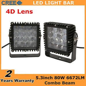 2x 80w Square Led Work Light Combo Boat Driving Offroad Lamp Ford 4d Lens Pk 48w