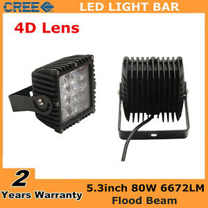 2x 80w 5inch Led Pods Work Light Combo Offroad Truck For Jeep Suv Square 4d Lens