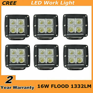 6x 3inch 16w Square Led Work Lights Flood Cube Pods Suv Offroad Truck For Jeep
