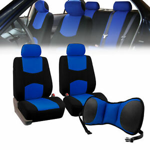 Front Bucket Seat Covers Blue With Seat Back Cushion Pad Blue For Auto Car Suv
