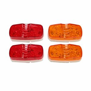 4x Trailer Marker Led Light Double Bullseye 10 Diodes Clearance Lamps Red Amber