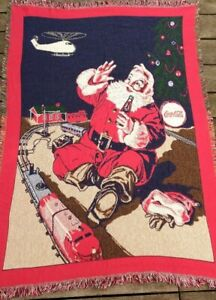 1993 Official Coca Cola Santa Train Toy Throw Blanket Fringe Tapestry 67