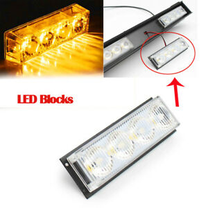 4 Led Emergency Light Bar Warning Flashing Traffic Flash Strobe Yellow Amber Us