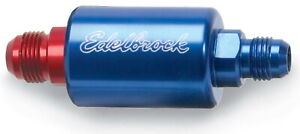 Edelbrock 8130 Fuel Filter High Flow In Line 40mic Stainless 6 An Male Blue red