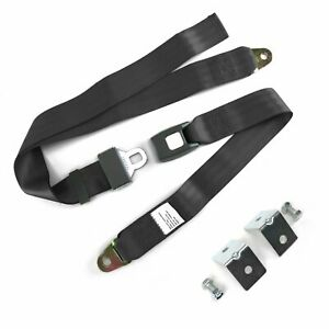 2pt Charcoal Standard Buckle Lap Seat Belt With Mounting Hardware Streets Rods