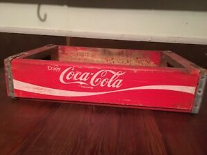 Vintage Red & White Coca-cola Wooden Crate  Delta