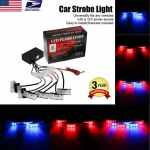 18 Led Emergency Warning 3 Flashing Light Car Auto Police Strobe Light Blue red