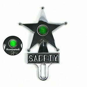 Light Up Green Dot Vintage Style Safety Star License Plate Topper Hot Rat Rod