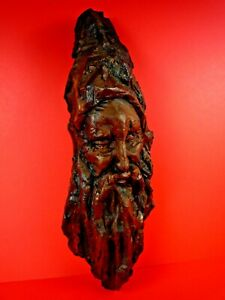 Unique Vintage Hand Carved Wooden Sculpture Face Old Breaded Man Wizard