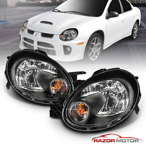 For 2003 2005 Dodge Neon Black Headlights Head Lamps Pair Factory Style W Bulbs