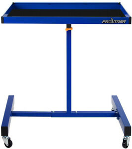 Portable Utility Cart 32 Inch Blue Mechanic Service Tray Height Adjustable Wheel