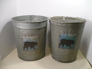 2 Vintage Galvanized Sap Collecting Pail Old Bear Maple Syrup