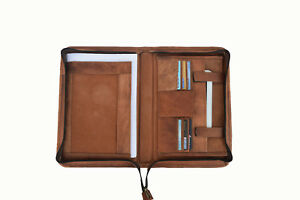 Vintage Leather Portfolio Padfolio Organizer Folder A4 Notepad Executive Zipper