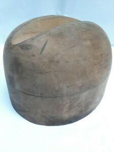 Antique Wood Millinery Hat Mold Form Concave Top Stamped 2086