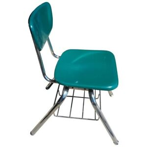Midcentury School Chair Green Fiberglass Steel Chrome Book Basket 30 Available