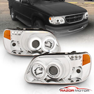 dual Ccfl Halo 1995 2001 Ford Explorer Led Projector Chrome Headlights Pair