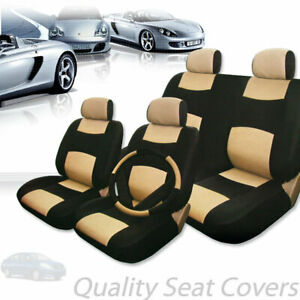 For Nissan Premium Black Tan Synthetic Leather Car Seat Steering Covers Set
