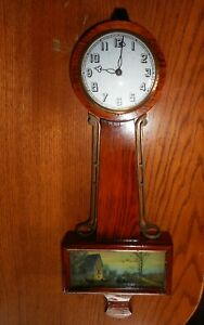 Antique Vintage Banjo Clock With Picture Scenic Horse Carriage Barn Wood