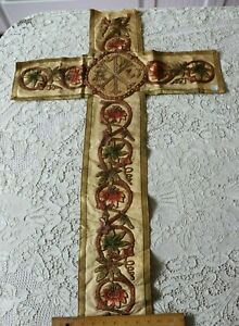 Antique French Silk Metallic Ecclesiastical Vestment Cross Hand Embroidered
