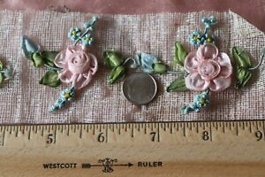 5 Antique French C1910 Pink Silk Ribbonwork Rosettes L 2 X W 2 5 Each One