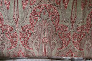 Partial Antique C1870 Wool Paisley Medallion Frame Double Weave Kashmir Shawl