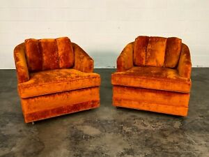 Orange Velvet Mid Century Modern Lounge Chair A Pair
