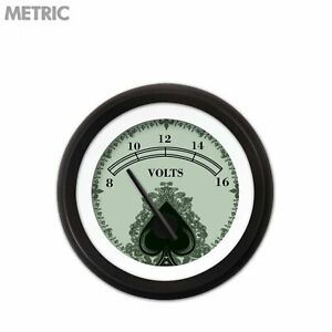Voltage Meter Volt Gauge Metric Spade Series Black M Needles Black Bezel Custom