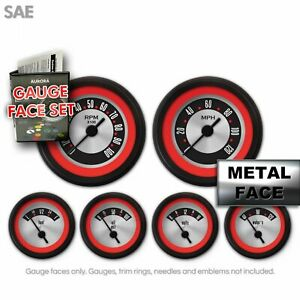 Gauge Face Kit Sae Og Retro Hot Rod Red Trim Cluster Panel Instrument Custom Mph