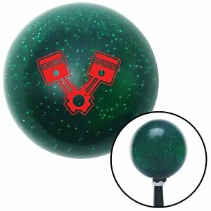 Red 2 Pistons Green Metal Flake Shift Knob With 16mm X 1 5 Insert Ktm Hot Rod