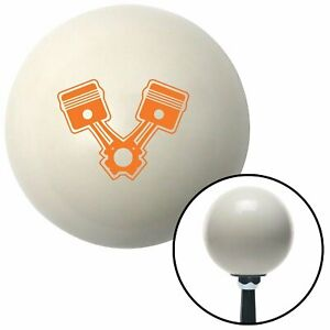 Orange 2 Pistons Ivory Shift Knob With 16mm X 1 5 Insert Chopper Cal Customs