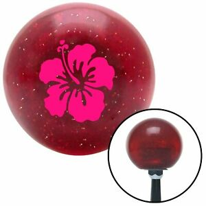 Pink Hawaiian Flower 9 Red Metal Flake Shift Knob With 16mm X 1 5 Insert Amp