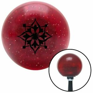 Black Abstract Flower Red Metal Flake Shift Knob With 16mm X 1 5 Insert