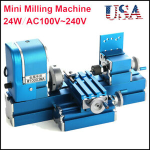 Mini 24w Diy School Motorized Lathe Machine Tool Metal Woodworking Hobby Model