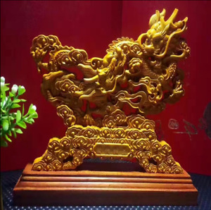 9 China Natural Boxwood Wood Carved Fengshui Zodiac Dragon Son Sculpture