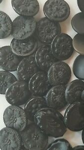 Antique Lot Of 46 Black Glass Buttons Flower Stars Oval Round 1 2 To 3 3 Inch