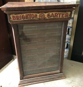 Rare Country Store Antique Brighton Silk Garter Wooden Display Cabinet