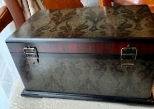 Vintage Heavy Jewelry Wooden Box 13 X 8 1 2 X 6 5 Tall