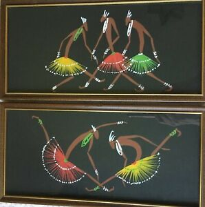 Mid Century Modern Abstract Art African Tribal Warriors Paintings Set Of 2