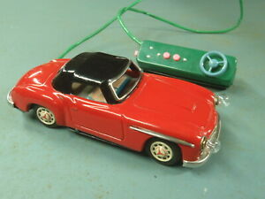 Japan Tin 1950 s Red Mercedes Benz 190 Sl Coupe 1955 1963 Old Toy Car Battery