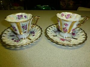 Vintage Royal Sealy China Irridescent Lilac Rose Tea Cup Set Htf Rare