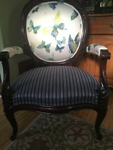 Antique Stuffed Horsehair Hand Carved Chair