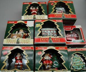Lot of Coca Cola Bottling Trim A Tree Collection Christmas Ornaments Lot of 8