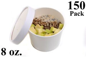 150 8 Oz Round White Paper Disposable Deli Food Soup Containers With Lids