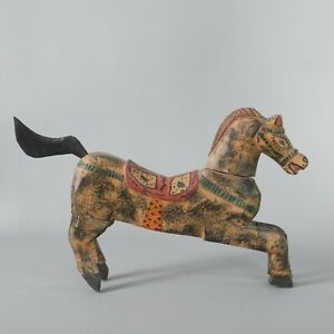 Antique Folk Art Horse Statue Hand Carved Wooden Painted Figurine